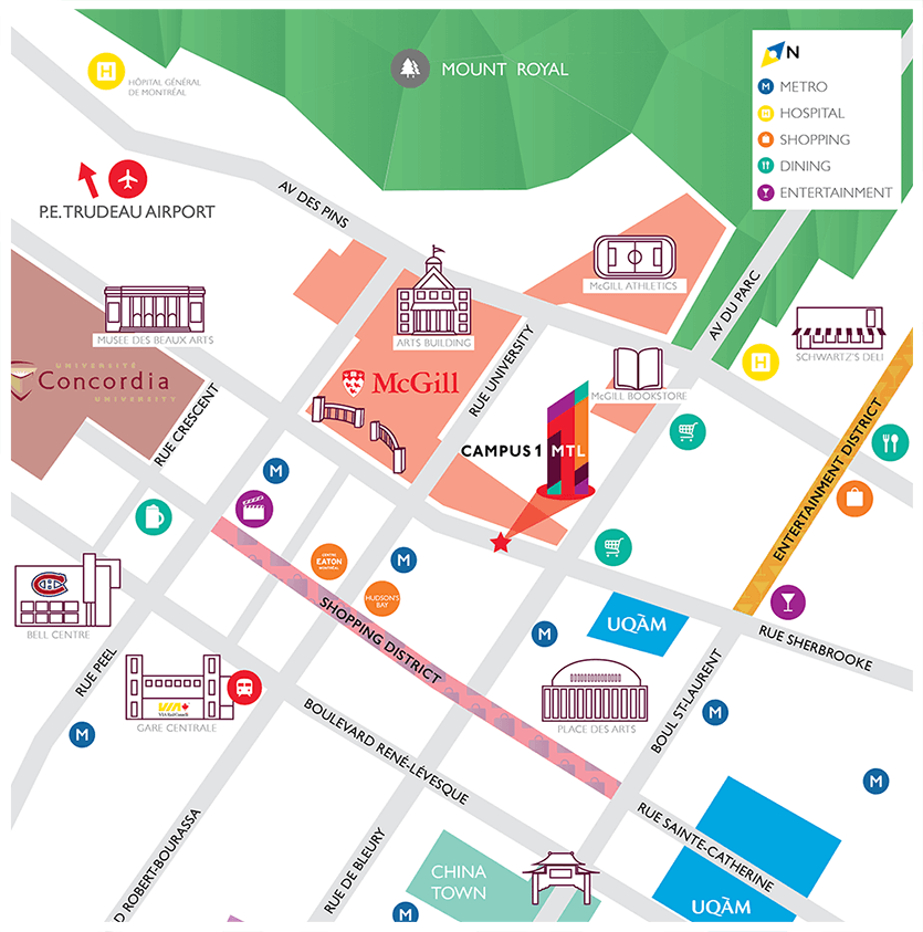 Campus1 MTL location map.